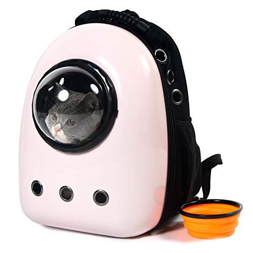 Xpect Cat Carrier Bubble Backpack Small Dog Space Capsule Knapsack Pet Travel Bag Waterproof Breathable (Light Pink) -