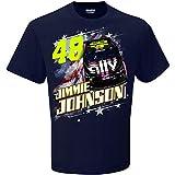 Checkered Flag 2019 NASCAR Men's Patriotic USA 2-Spot Driver/Sponsor T-Shirt-Jimmie Johnson #48-Navy-Large