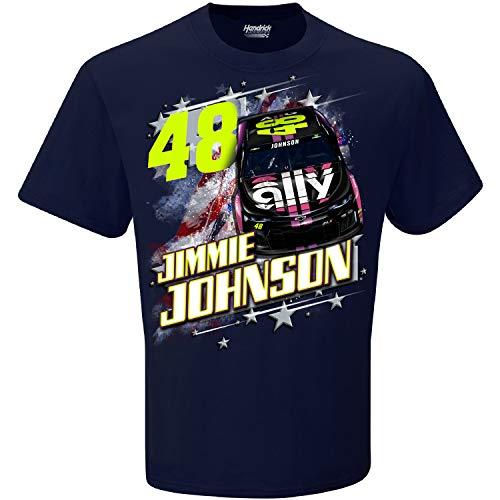 Checkered Flag 2019 NASCAR Men's Patriotic USA 2-Spot Driver/Sponsor T-Shirt-Jimmie Johnson #48-Navy-XL