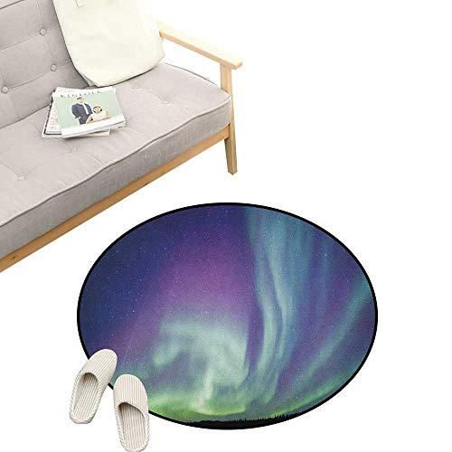 - Aurora Borealis Custom Round Carpet ,Exquisite Atmosphere Solar Starry Sky Calming Night Image, Dorm Room Bedroom Home Decorative 39