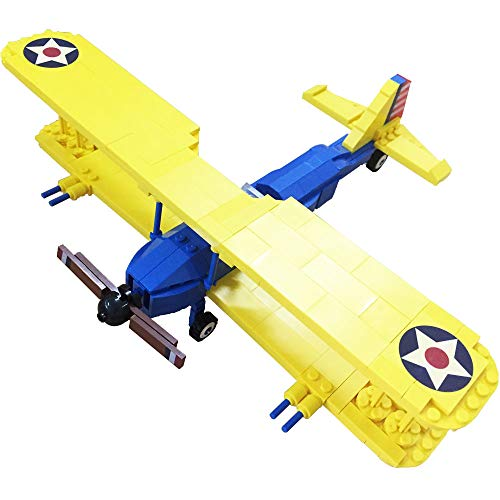 Bestoyz The Fighter of World War II PT-17 Stearman Biplane Building Bricks Kit, WWII Military US Army Airplane Model Toys (340PCS)