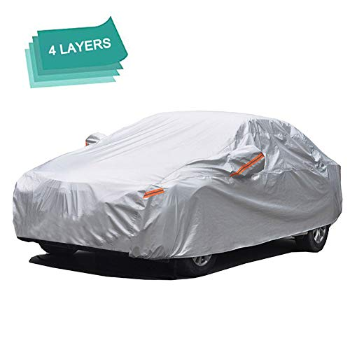 GUNHYI Outdoor Car Covers for Automibles Waterproof all Weather, 4 Layer Heavy Duty Cover Sun uv Protection, Universal Fit Sedan (Length 180-191inch) ()