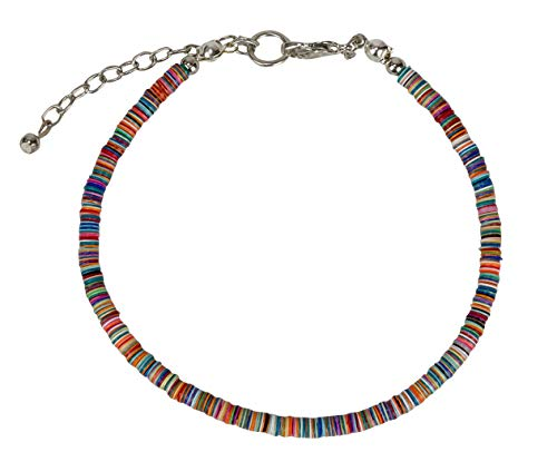 - SPUNKYsoul Boho Multi-Colored Sequin Silver Anklet for Women (Multi-Color)