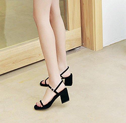 Bereift dick mit weiblichen Sandalen Schuhe Casual Sandalen Sommer Black