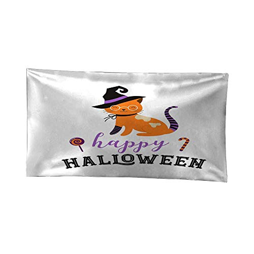Leighhome Tapestry blankethanging tapestryHappy Halloween - Cats in Monsters Costumes Halloween Party Vector Illustration Banner Elements Set 80W x 60L -