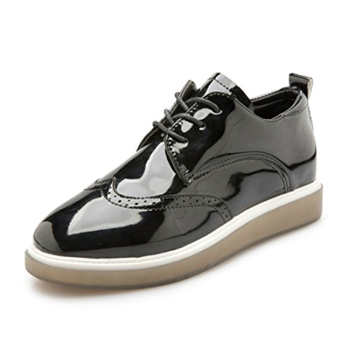 Fashion Womens Leather Oxfords Black vQT55