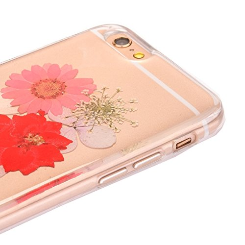 GR Weiche transparente TPU schützende Fall-Epoxy-tropfende gepresste reale getrocknete Blumen-Abdeckung für iPhone 6 u. 6s ( SKU : Ip6g2996h )