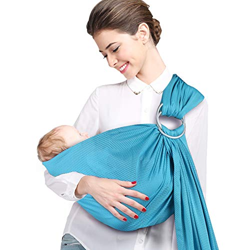 - Accmor Baby Sling Ring Sling Carrier Wrap, Ideal for Summer/Beach Adjustable Ring Sling Baby Carrier for Infants and Newborn, Soft Breathable Lightweight, Nice Baby Shower Gift (Blue)