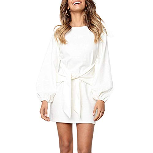(DDSOL Women's Casual Long Sleeve Front Knot Wrap Midi Sweater Dress)