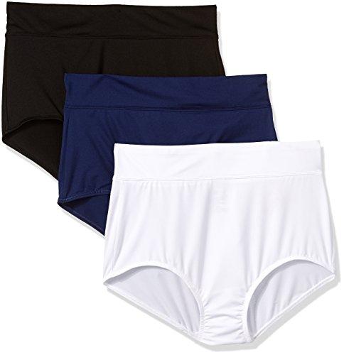 Warner's Women's Body Heaven Micro Brief 3 Pack Panty, Black/Navy Ink/White, M -