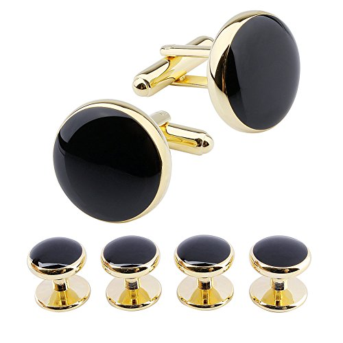 HAWSON Man Tuxedo Shirt Studs Cufflinks Set for Wedding Business Gold