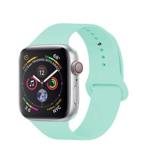 Band Mint - YANCH Compatible with for Apple Watch Band 38mm 40mm, Soft Silicone Sport Band Replacement Wrist Strap Compatible with for iWatch Series 4/3/2/1, Nike+,Sport,Edition,S/M,Size,Mint Green