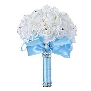 Febou Wedding Bouquet, Big Size Bridesmaid Bouquet Bridal Bouquet with Crystals Soft Ribbons, Artificial Rose Flowers for Wedding, Party and Church (Baby Blue, Big Size) 32