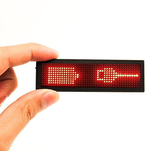 NEW-Name-Tag-MECO-LED-Name-Badge-reuseable-Price-Tag-rechargeable-name-Tape-office-megnetic-name-tags-MicroUSB-programming-Digital-Sign-11x44-w-Magnet-and-Pin-Free-Drive-Red