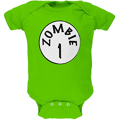[Halloween Zombie 1 One Costume Apple Green Soft Baby One Piece - 18-24 months] (Inappropriate Halloween Costumes For Babies)