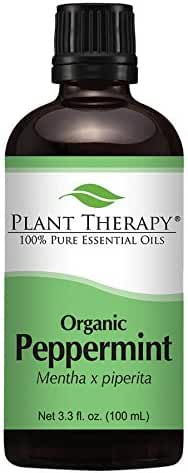 Plant Therapy USDA Certified Organic Peppermint Essential Oil. 100% Pure, Undiluted, Therapeutic Grade. 100 mL (3.3 Ounce).
