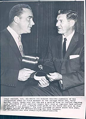 Vintage Photos 1956 Photo Marty Marion Chicago IL White Sox Manager Resigns Symbol Hat 6x8