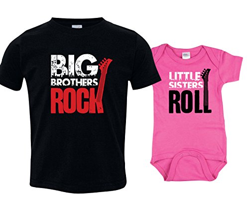 Big Brother Tshirt, Little Sister Onesie, Includes Small (6-8) & 3-6 mo (Big Sister Big Brother Shirts compare prices)