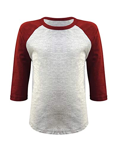 ILTEX Kids & Youth Baseball Raglan T-Shirt 3/4 Sleeve Infant Toddler Youth Athletic Jersey Sports Casual (20+ Colors) (12 Months, Gray/Burgundy)