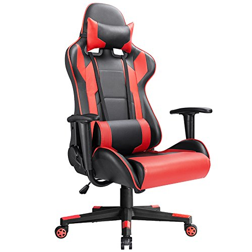 Devoko Ergonomic Gaming Chair Racing Style Adjustable Height High-back PC Computer Chair With Headrest and Lumbar Massage Support Executive Office Chair (Red) (Ergonomic Massage Chair)