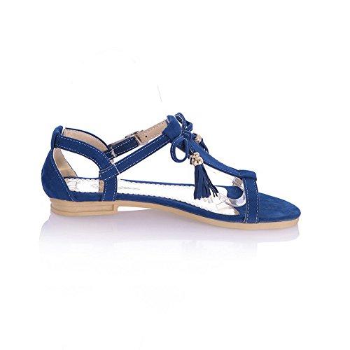 Odomolor Mujeres Sólido Gamuza(Imitado) Mini Tacón Puntera Abierta Sandalias de vestir Azul