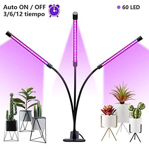TECHVIDA Lámpara LED Plantas 15W 360 Grados Ajustable 3 Interruptores de Control Luz Rojo y Azul Lámpara de Cultivos Hidropónicas para Crecimiento y Floración Grow Led para Cultivo Interior y Invernaderos