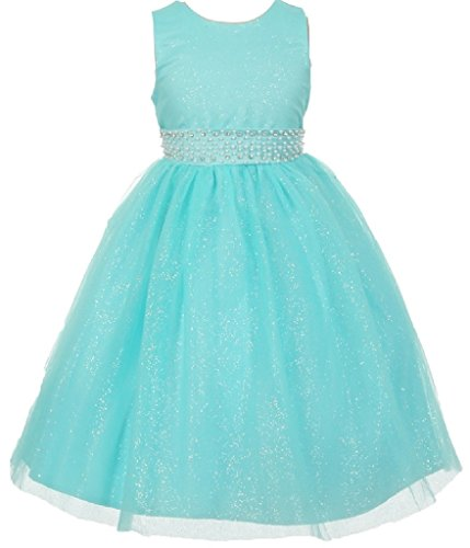 Big Girls' Shiny Glitter Sparkle Waist Belt Flowers Girls Dresses Aqua Size 10