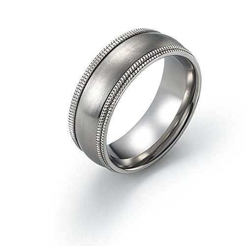8mm Titanium Ring Wedding Band Brushed Double Milgrain Edge Comfort Fit SZ 9-12 Free Engraving Service
