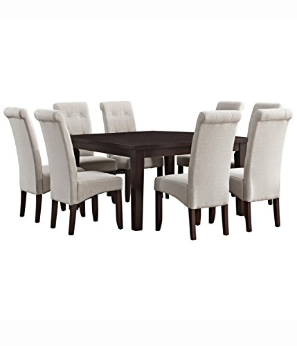 Simpli Home AXCDS9-COS-NL Cosmopolitan Contemporary 9 Pc Dining Set with 8 Upholstered Dining Chairs and 54 inch Wide - Seater Table 8