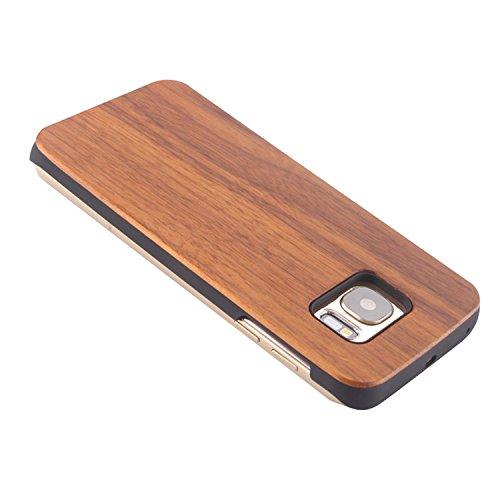 Vandot 1X Genuine Samsung Galaxy S6 caso Tree azteca árbol híbrido retro de madera cubierta de la caja de bambú premium Matt transparente clara trasera dura de la contraportada del patrón de lujo Patt Mu+PC 02