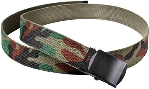 Kids Woodland Camouflage Reversible Cotton Military Web Belt - 34