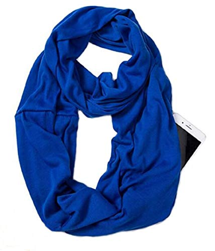 Womens Fashion Infinity Scarf - Infinity Pocket Scarf Fashion Travel Scarf-With Zipper Infinity Scarves Women Wrap (Blue)