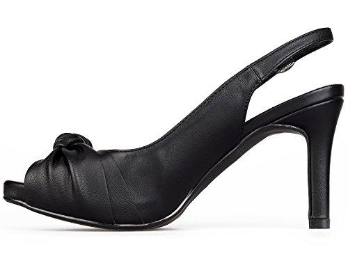 MaxMuxun Chaussures à Talon Aiguillon Femmes Noir Pu fDIzGhC5e
