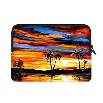 angelinana Cute Tropical playa palmera al atardecer Custom bolsa de ordenador portátil cubierta bolsa funda blanda