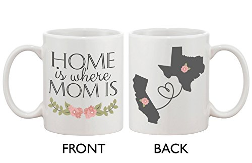 Personalized Long Distance Relationship Ceramic Coffee Mug for Mom - Home Is Where Mom Is by 365 In Love