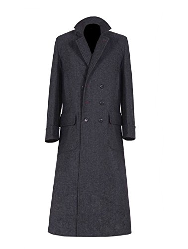 VOSTE Black Winter Wool Long Frock Coat for Men (XXX-Large, Black) (Wool Frock Coat)