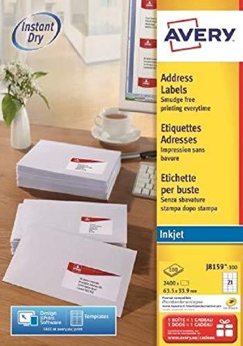 Avery Dennison Avery Quick DRY Addressing Labels Inkjet 24 per Sheet 63.5x33.9mm White Ref J8159-100 [2400 Labels] ()