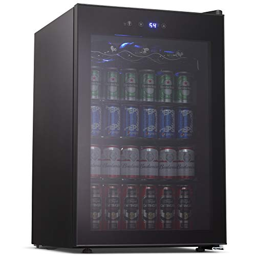 Joy Pebble Beverage Cooler and Refrigerator, 126 Can Mini Fridge with Glass Door for Soda Beer or Wine, Small Drink Cooler for Home, Office or Bar