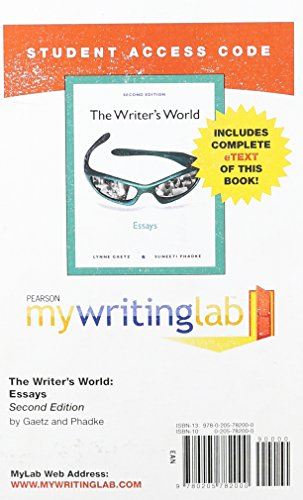 MyWritingLab with Pearson eText -- Standalone Access Card -- for The Writer's World: Essays (2nd Edition) (Mywritinglab