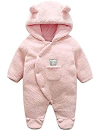 96f05ca8eb28 Infant Toddler Baby Boy Girl Winter Outerwear Hooded Footies Snowsuit