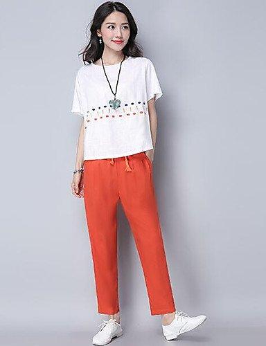 Orange Medium Xuanku Femmes 039;S Facile Simple Tous Les Jours De L'été T-Shirt Pant Suits,Manches Courtes Col Rond Impression