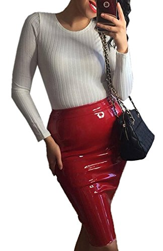 Vin Unie Slim Jupes Fashion de Crayon Soire Package Femme Genoux Fashion Et Cocktail Rouge Simple Couleur Cuir Jupe Sexy Hanche Party wzHY4pqnxn