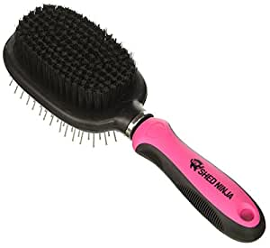 Shed Ninja Dog and Cat Brush - Grooming Tool for Short, Medium and Long Hair - Small and Large Animals - Skin and Coat Safe Bristles with Flexible Head - Deshedding Support
