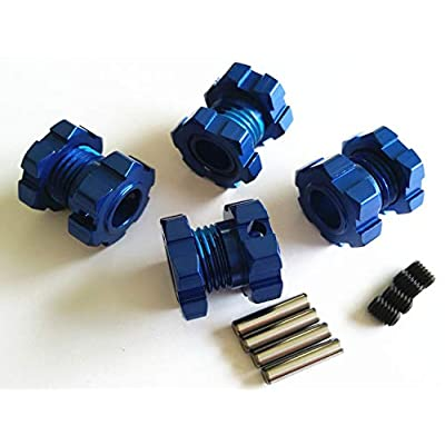 Aluminum Splined 17mm Wheel Hubs Hex Adaptar -4pcs Blue for Traxxas 1/10 E REVO 2.0 VXL 8654 7758: Toys & Games