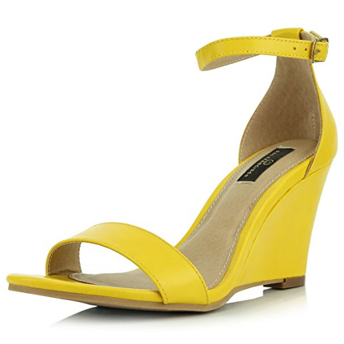 (DailyShoes Women's Ankle Open Toe Wedge Fashion Shoes, Yellow PU, 10 B(M) US)