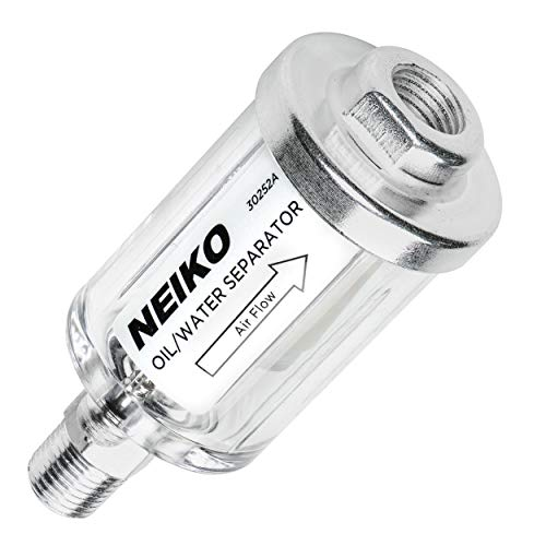 Portable Media Air Cleaner - Neiko 30252A Water and Oil Separator for Air Line, 1/4