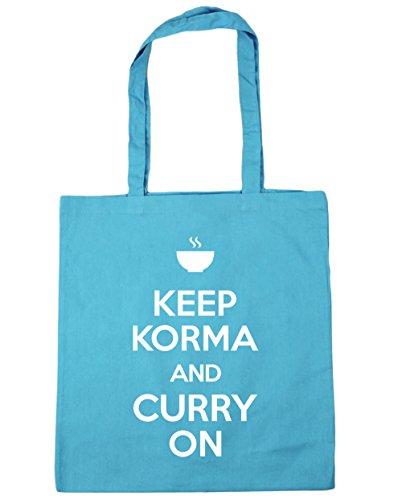 HippoWarehouse Keep Korma y Curry en Tote Compras Bolsa de playa 42cm x38cm, 10litros, rojo clásico (rojo) - 21424-TOTE-Classic Red Surf Blue