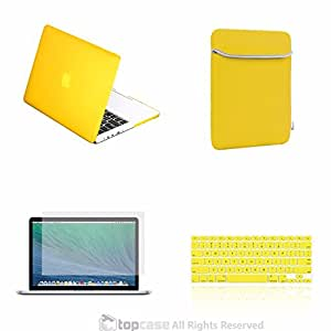 """TopCase New Macbook Pro 13"""" 13 inch with Retina Display A1425 and A1502 (NEWEST VERSION 2013) 4 in 1 Bundle - Yellow Rubberized Hard Case Cover + Matching Color Soft Sleeve Bag + Silicone Keyboard Cover + LCD HD Clear Screen Protector with TopCase Mouse Pad"""