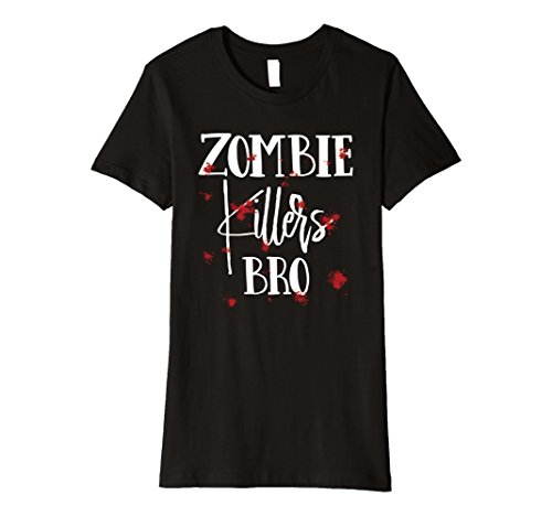 Woman Zombie Killer Costume (Womens Halloween Costume Zombie Killers Bro Bloody T-Shirt Large Black)