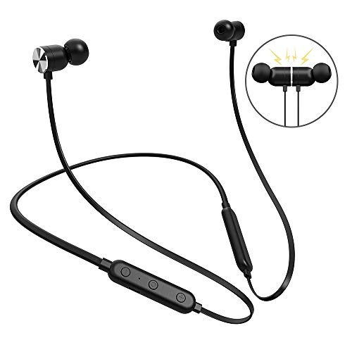 Bluetooth Headphones, FKANT Wireless Earbuds V4.2 Magnetic Neckband Bluetooth Headphones Earphones, IPX5 Sweatproof, 8 Hours Playtime, Noise Cancelling Headset with Built-in Mic for Workout, Sports